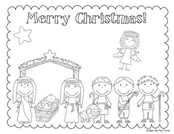 The Christmas Story Nativity, Jesus Coloring & Writing