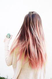 brown hair with pastel pink dip-dye