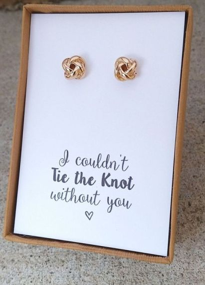 Wedding Ideas/Knot Bridesmaid Earrings/Bridesmaid Gifts/Bridesmaid Proposal/Rustic Wedding: