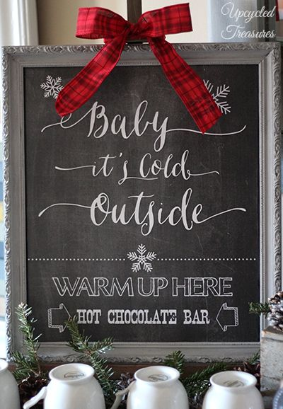 """FREE Hot Chocolate Bar Chalkboard Printable - """"Baby It's Cold Outside"""" Hot Chocolate, Hot Cocoa or Hot Beverage Bar Station for weddings or holiday parties"""