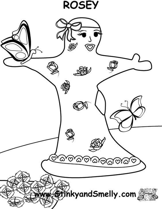This is a coloring page from the Adventures of Stinky and