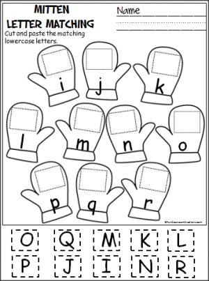 Free cut and paste letter matching activity for winter (i
