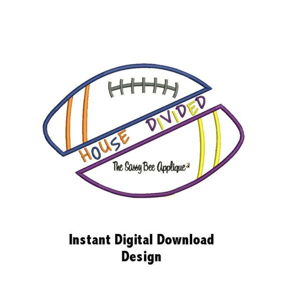 DD Football HOUSE DIVIDED Applique Machine Embroidery Design 4