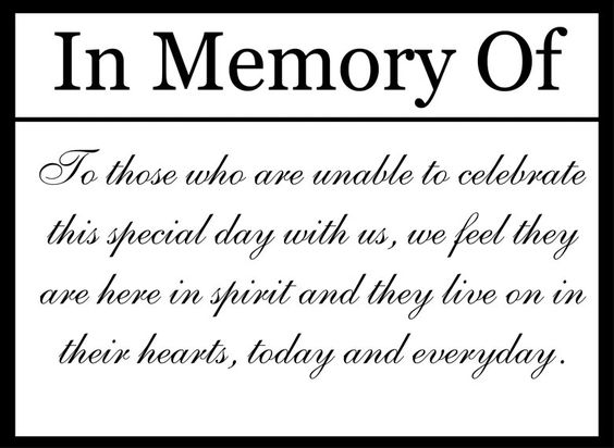 Custom Printable Wedding Memorial Sign Digital File