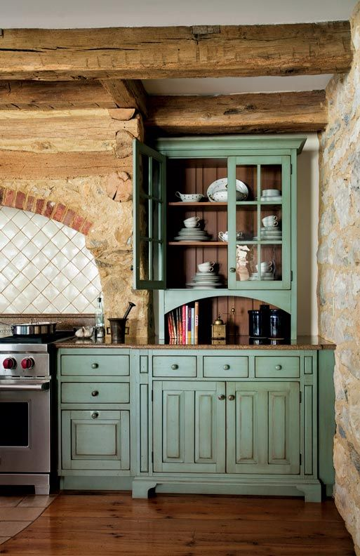 Primitive Colonial Inspired Kitchen Turquoise Cabinets