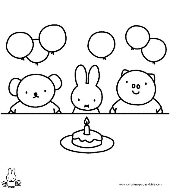 Free Miffy coloring pages for party activity or for making