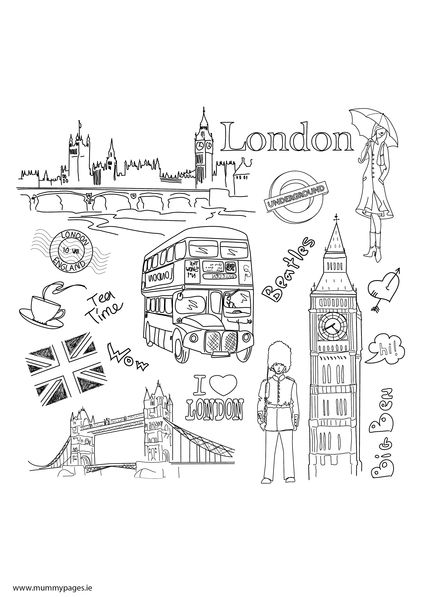 Doodles, Colouring pages and London on Pinterest