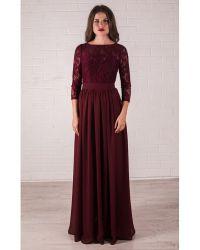 Bridesmaid Marsala Dress Lace Burgundy Wedding Dress ...