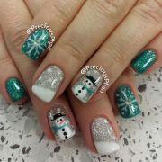 nails christmas nail art and snowman