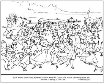 Currier & Ives. Central Park/Winter. Coloring page