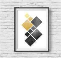 Black and Yellow Geometric Print Black and Mustard Wall ...