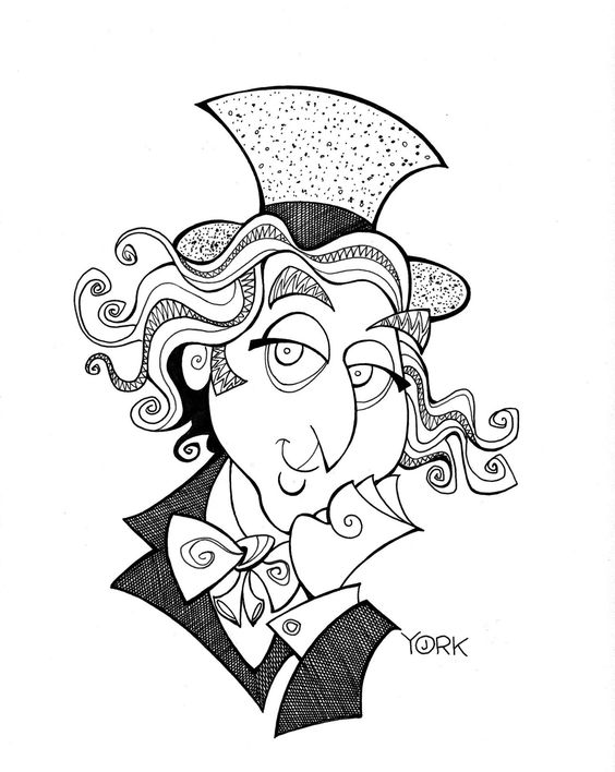 Original caricature of Gene Wilder as Willy Wonka by Jeff