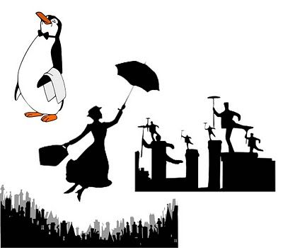 Mary Poppins silhouettes, including London skyline