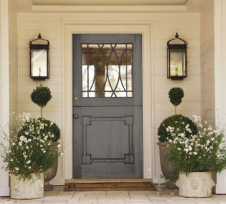 front door with layered decor