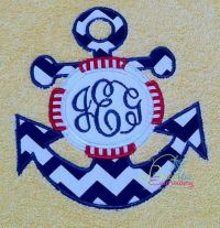 Sea Anchor with life saver Applique Machine Embroidery ...
