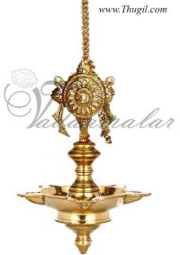 Sangu Chakara Hanging Brass Diya Oil Lamp. Traditional ...