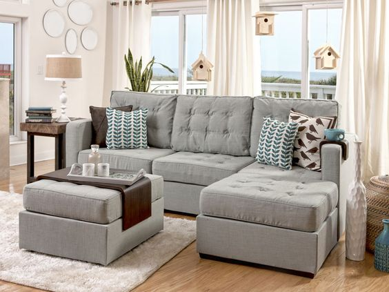 Lovesac Sectional Furniturethis is our next couch I love the add on cup holder and tray So