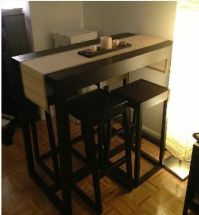 small kitchen table with stools