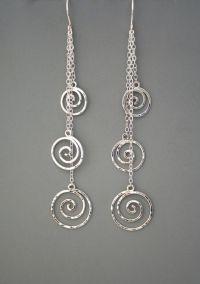Sterling silver spiral long dangle earrings, Rachel Wilder ...