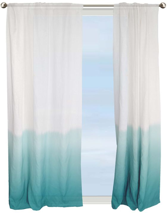 Dip Dye Border Semi Sheer Curtain Aqua Under The Sea Nursery