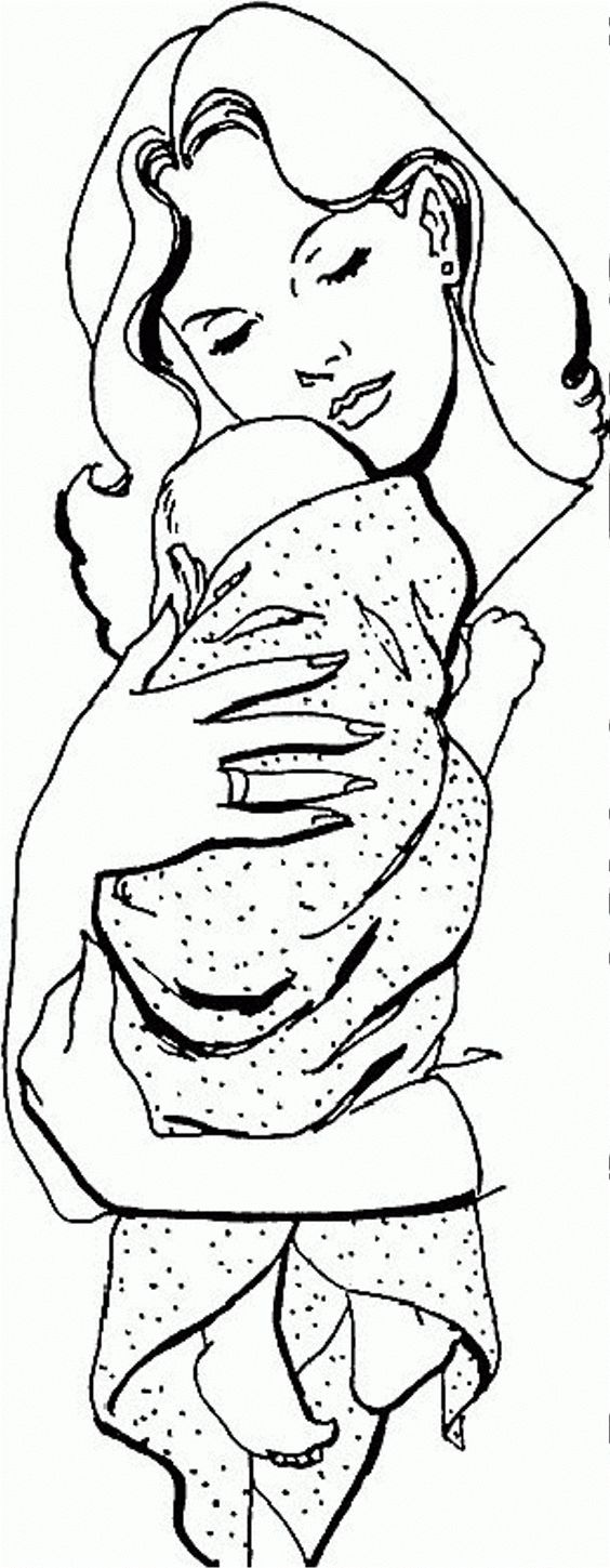 Baby Hugged By Mom Coloring Page Photos, Activity at