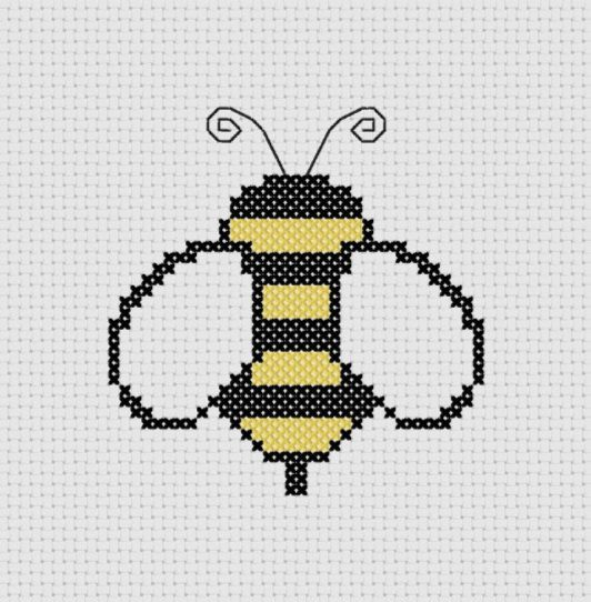 Bumble Bee Cross Stitch (Printable PDF Pattern