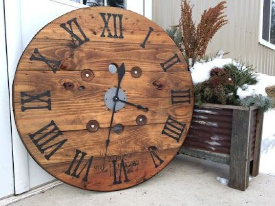 Urban Patina: Upcycled electrical wire spool into large focal point wall clock: