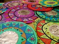 Mexican Mirrors- metal tooling. Maybe paper plates for ...