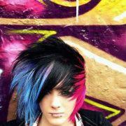 emo boy blue black and pink hair