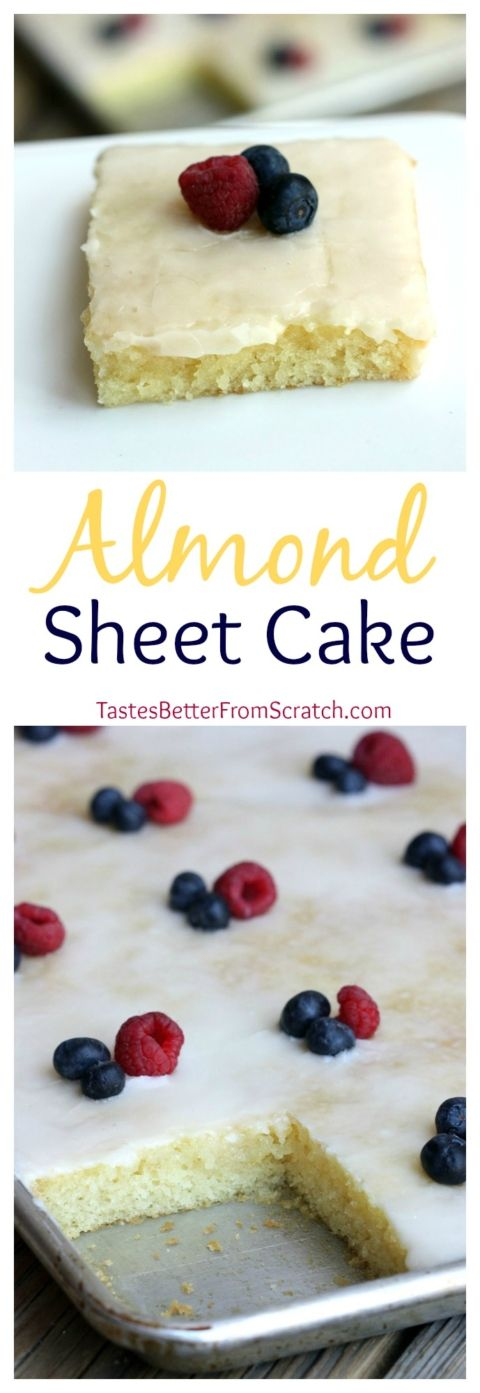 Almond Sheet Cake Dessert Recipe via Tastes Better From Scratch - The Best EASY Sheet Cakes Recipes - Simple and Quick Party Crowds Desserts for Holidays, Special Occasions and Family Celebrations