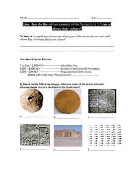 Sumerian Cultural Advancements Worksheet Cuneiform
