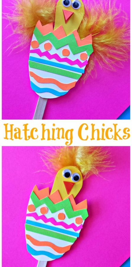 Cute Hatching Easter Craft for Kids using popsicle sticks