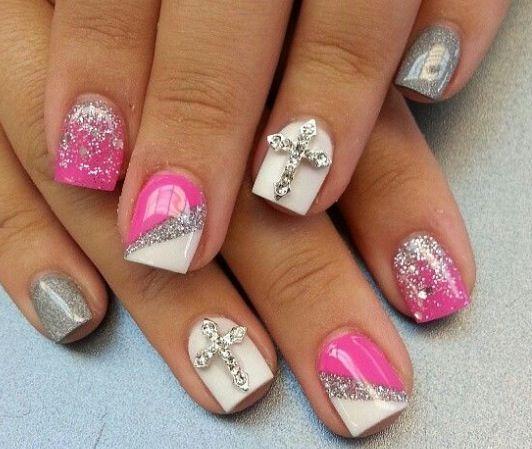 Hot pink nail design Girly Nail Design Pinterest