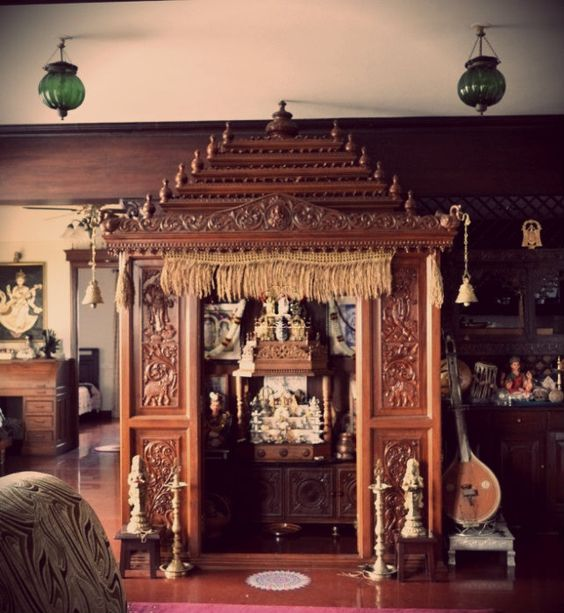 A traditional South Indian home with a beautifully craved