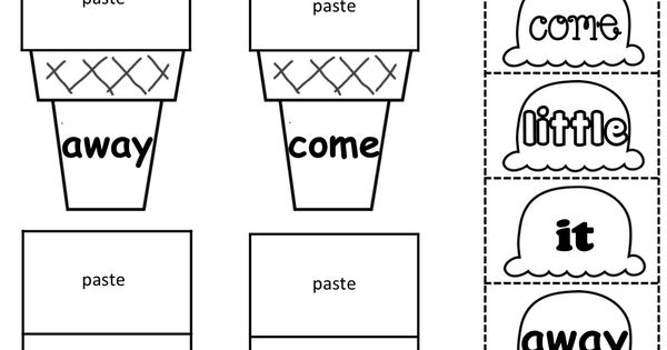 Sight Word Scoops! (Color, cut and paste) Great for