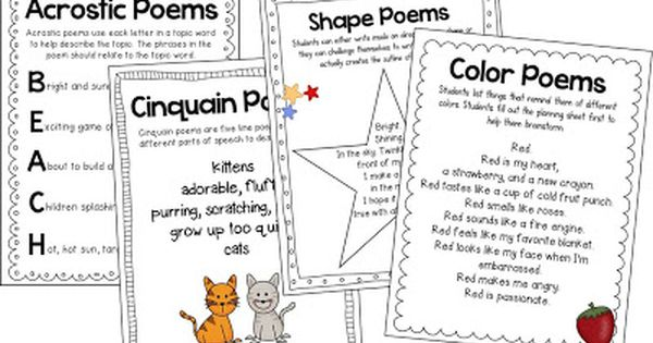 Form poems and free verse poems for grades K-2! Teacher