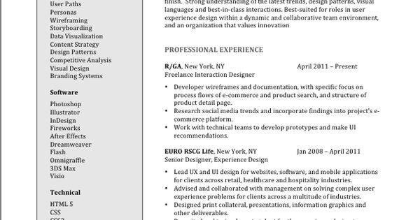 User Experience Design Resume  Brooklyn Resume Studio  resumes career  Resume  Cover