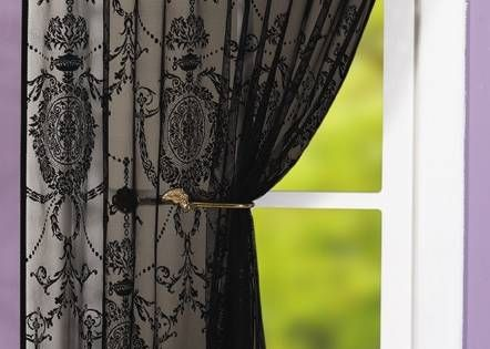 Black Lace Curtains  HOLLY BLACK LACE PANEL  Net