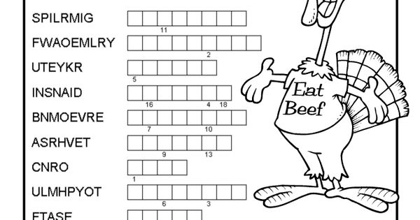 Thanksgiving Word Puzzles Thanksgiving Double Word