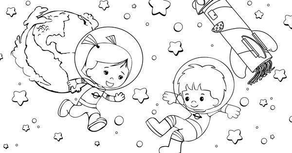 Stoere kleurplaat! Chloe en Jet zijn in de ruimte. #