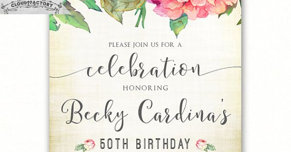 50th Birthday Invitations For A Woman Adult Birthday