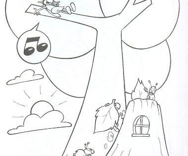 Desenhos a cigarra e a formiga para colorir ou contar a