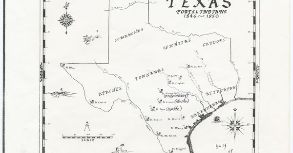 A Map of Texas Forts & Indians between 1846~1850 stored in