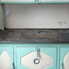 Kitchen Cupboards Ideas Healthy Dog Food Antique 1930's Kalamazoo President Stove Wood Cook Green ...