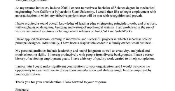 Cover Letter Mechanical Engineer Cover Letter Sample