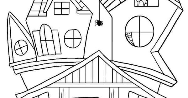 Free Printable Coloring Sheets Halloween Haunted House For