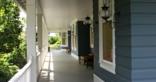 Dark Gray Siding With Light Gray Porch Deck And White Railings Must Have Porches Doors Amp Curb
