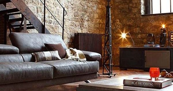 Masculin charme  leather couch  brick wall  industrial  Loft living  Pinterest  Wohnzimmer