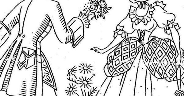 Hand Embroidery Pattern Vintage Belle Crinoline Victorian