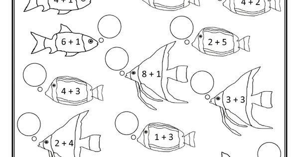 homeschool math worksheet fun addition to 12 fish 1